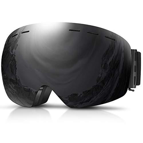 DADA-PRO Skibrille, Herren Damen Snowboardbrille Erwachsene über Gläser OTG rahmenlose für Ski Anti-Fog, UV-Schutz Sonnenbrille (Schwarz)