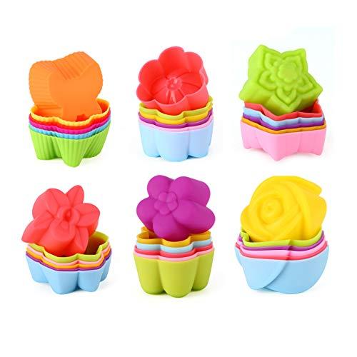 SECWELL 36er Silikon Muffinförmchen Cupcake Formen aus Silikon Wiederverwendbare Muffinformen Blumen Schmetterlinge und andere Formen