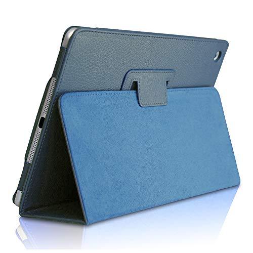 Custodia per iPad Mini 3/ Mini 2/ Mini 1, FANSONG Bifold Series Litchi Stria Ultra Sottile Magnetico PU Smart Cover con Stare in Piedi, Funzione Sleep per Apple iPad Mini 1/2/3,Navy
