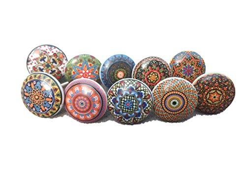 Ajuny Juego de 20 pomos de cerámica multicolor con aspecto vintage y flores pintados a mano