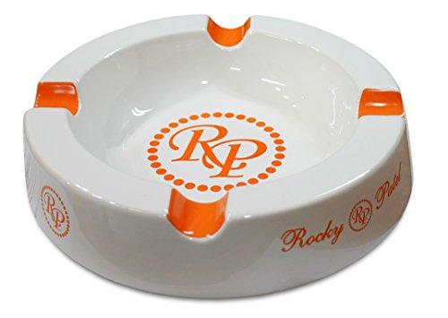 Rocky Patel Circular Ceramic White/Orange Cigar Ashtray