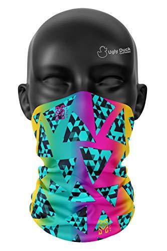 Ugly Duck Geo - Pasamontañas para el cuello, pasamontañas, protección UV, seda helada, bufanda deportiva para polvo al aire libre