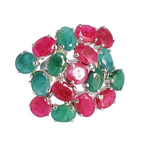 Ravishing Impressions Jewellery Anillo de plata de ley 925 de corindón de esmeralda y rubí, para boda, aniversario, joyería nupcial para mujer, Piedra, Esmeralda y rubí,