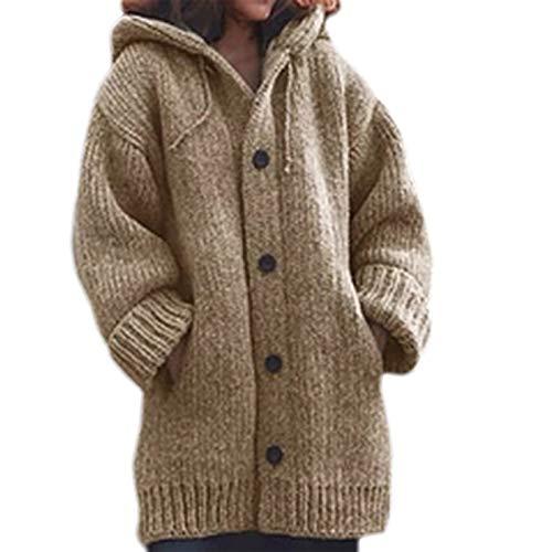 JHD Frauen Winter Langarm Hoodie Mantel Chunky Crochet Gestrickt Einfarbige Button Down Sweater Jacke Übergroße Loose Tunika Cardigan Outwear mit Taschen