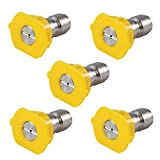 Podoy Pressure Washer Sprayer Nozzle Tip 1/4' Size 3.0, Yellow 15 Degree Stainless Steel for 1500 Psi, 2000 Psi & 2500 Psi Pressure Washer (Pack of 5)