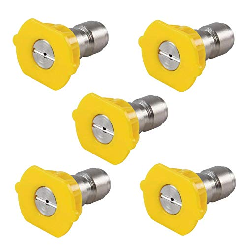 Podoy Pressure Washer Sprayer Nozzle Tip 1/4 Size 3.0, Yellow 15 Degree Stainless Steel for 1500 Psi, 2000 Psi & 2500 Psi Pressure Washer ?Pack of 5?