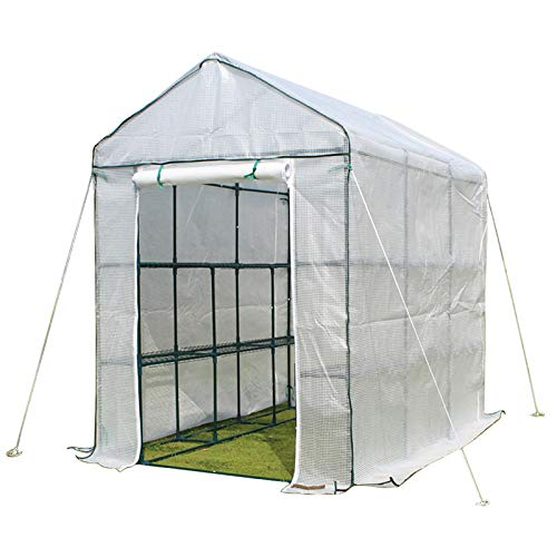ERRU Invernadero Invernadero Grande Portátil para Plantas con Cubierta de PE, Hot House de Tomate Que Cultiva un Huerto Impermeable, Puerta con Cremallera Enrollable (140×140×195 cm)
