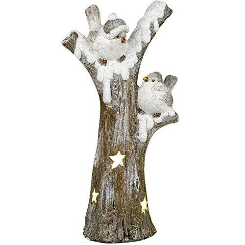 Formano Deko-Windlicht Vögel auf Zweig aus Magnesia, Sortiert, 58x35cm, 1 Stück, Weiß-Braun