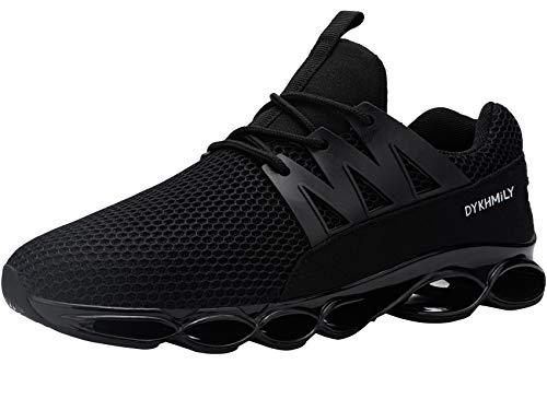 DYKHMATE Sicherheitsschuhe Herren Leicht Atmungsaktiv Arbeitsschuhe Sportlich rutschfest Stahlkappenschuhe Antishock Sneaker (Mesh Schwarz,44 EU)