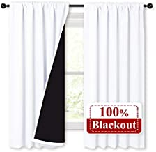 NICETOWN White 100% Blackout Lined Curtains, 2 Thick Layers Completely Blackout Rod Pocket Thermal Insulated Drapes for Kitchen/Bedroom (1 Pair, 52 inches Width x 63 inches Length Each Panel)