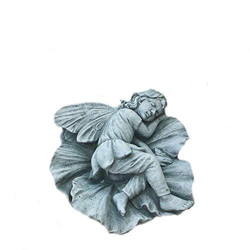 Steinfigur Elfe/Fee auf Blatt Elfenfigur Elfenjunge Gartenfigur Steinguss