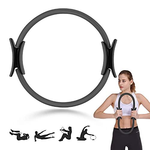 Anillo de Pilates Círculo Mágico para Fitnes, Aro de Pilates para Entrenamiento Fitness los Muslos Internos y Externos Mejora la Fuerza Flexibilidad y Postura (Negro)