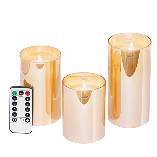 GloBrite Flameless Candles Battery Operated Pillar Real Wax Flickering Moving Wick LED Glass Candle Sets with Remote Control Cycling 24 Hours Timer, 4' 5' 6' Pack of 3