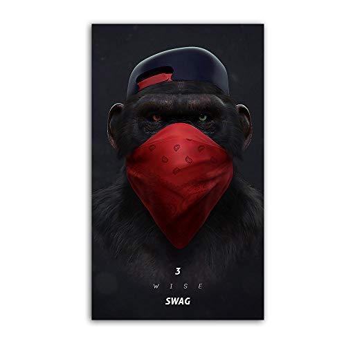 SDFSD Große Tier Bild Leinwand Gedruckt Malerei Moderne Lustige Maske AFFE Moderne Kunst pPrint Wandkunst Poster für Wohnzimmer 30 * 55 cm