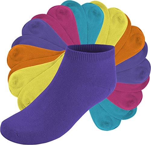 Circle Five 10 Paar Sneakers Sneakersocken Sneaker Socken für Damen Herren und Teenager Farbe Pink/Flieder/Orange/Gelb/Türkis Größe 37/42