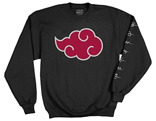 Ripple Junction Naruto - Shippuden Adult Akatsuki Cloud Anti Leaf Symbols Fleece Crew Sweatshirt Large Black