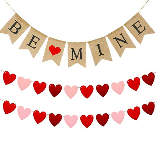 3 Pieces Valentines Day Banner Burlap Love Banner Be Mine Banner Felt Heart Garland Banner for Valentines Day, Wedding Engagement and Party Decoration Supplies (Be Mine Banner and Felt Heart)