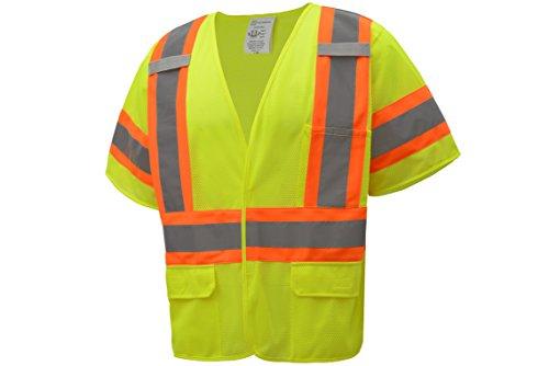 CJS CJHVSV3001 ANSI Class 3 High Visibility Two Tone Safety Vest 100% Polyester Mesh (Large, Green)