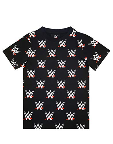 WWE Wrestling All Over Print Boys T-Shirt, Schwarz, 13-14 Jahre