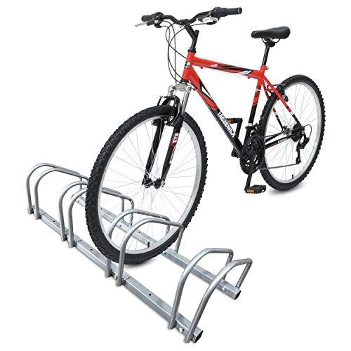 VOUNOT Fahrradständer, für 4 Fahrräder, Boden und Wandmontage, Aufstellständer Mehrfachständer, Silber