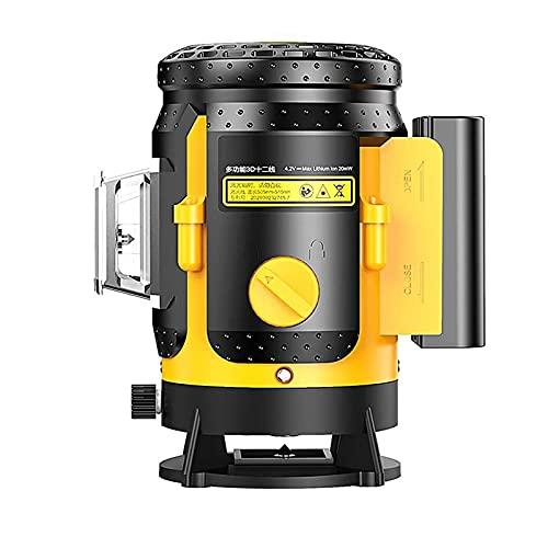 BJH Medidor de Nivel láser 3D de 12 líneas 360, Utilizado para nivelar la Cruz Vertical Trípode de Haz láser Verde Potente para Herramientas de construcción de Nivel