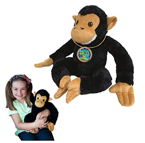 EcoBuddiez - Chimpancé de Deluxebase. Peluche Grande de 30 cm elaborado con Botellas de plástico recicladas. Lindo Peluche ecológico con Forma de animalito para niños pequeños.