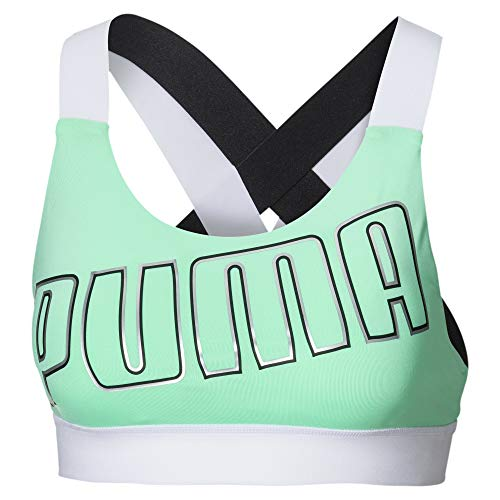 PUMA Damen Sport BH Feel It Bra M, Green Glimmer/White, M, 518289