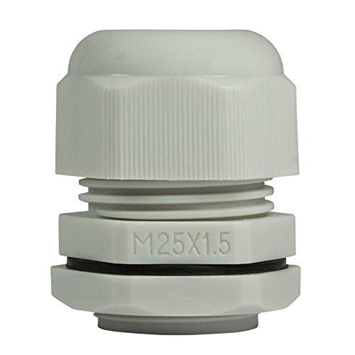 Faconet® 10x Kabelverschraubung M25 grau, Netzwerkkabel LAN sichern Schutz Zugentlastung 10er Set, IP68, Cable Gland (M25 Grey)