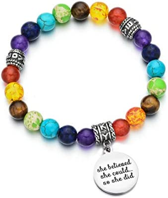 Women Stretch Bracelet 7 Chakra Beaded Healing Bracelet She Believed She Could Inspiration Jewelry product image