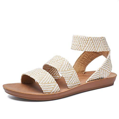 gracosy Sandalias Mujer Sandalias de Playa Flat Verano Punta Abierta Cuña Sandalias Casual Caminar Sandalias Antideslizante Zapatos Tobillo Correa Slingback Zapatos de Vestir