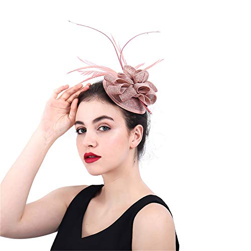 Jklj Pince à Cheveux Coiffe De Plumes Femme au Chapeau de Plumes Net Tissu Chapeau Fleur et Bande de Cheveux Rétro (Color : Brown)