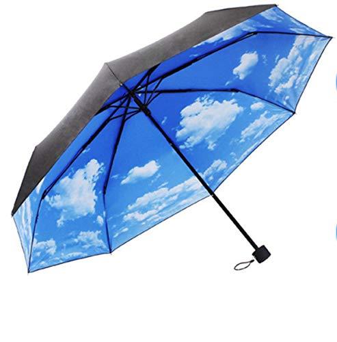 WJSW Ombrello da Viaggio Compatto Blue Sky, Telaio Rinforzato Antivento, Robusto Ombrello Portatile ad Asciugatura Rapida, Anti-UV