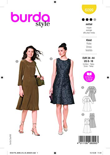 Burda 6099 Schnittmuster Kleid (Damen, Gr. 34-44) Level 3 mittel