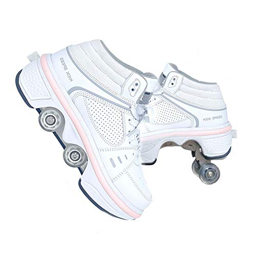 LDTXH Automatic Walking Shoes Invisible Roller Skate, 2-in-1 Parkour Shoes/Inline Roller Skating Shoes, Double-Row Quad Roller Skates Outdoor Sports Kick Rollershoes,White with Light,7