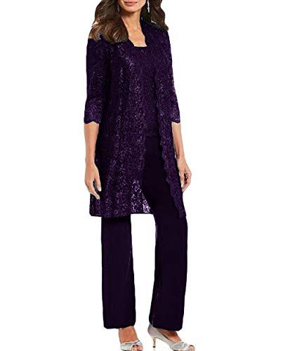 WZW Chic Mother of The Bride Pant Suits 3 Pieces Long Sleeve Chiffon Groom Mother Dress with Jacket Wedding Guest Gown Purple