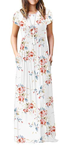 VIISHOW Women's Short Sleeve Floral Dress Loose Plain Maxi Dresses Casual Long Dresses with Pockets(Floral White L)