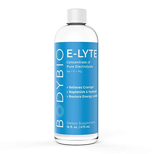 BodyBio - E-Lyte Electrolyte - Sodium, Magnesium & Potassium for Rapid Natural Hydration & Dehydration Recovery - No Sugar or Additives - Stop Cramps, Relieves Keto Flu + Boosts Energy, 16oz