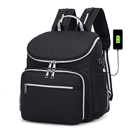 SAMJGF Leisure Backpack Female Bag USB Mummy Bag Shoulder Multi-Function Bottle Maternal and Child Package Diaper Baby Carriage Backpack, Black