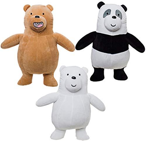 Grupo Moya - Set Completo 3 PELUCHE 20cm SIAMO SOLO ORSI We Bare Bears Personaggi Grizzly + Panda + Orso Bianco Cartoon Network - Multicolore - 20cm