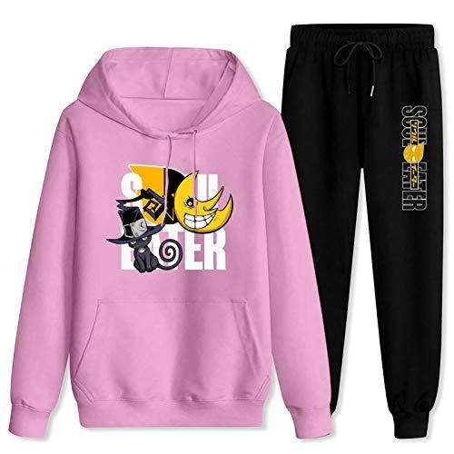 CAPINER Adult Anime S-ou-l Ea-te-R Tracksuit Sets Hoodies Sweatsuit Sweatpants Outfit Sweater Set for Women Men Women-XL/Men-L Pink and Black