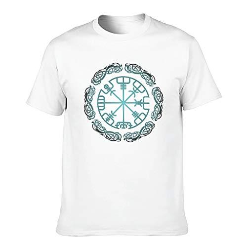 Hanebar Laickter Camiseta de algodón para hombre Viking Novelty Funny Ultra Soft - Impreso manga corta, blanco, L
