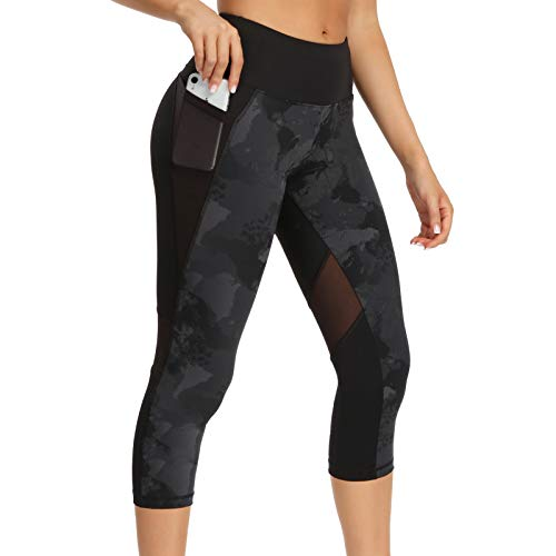 Legging Court Sport Femme 3/4 Pantalon Yoga Corsaire Taille Haute Poches Pantacourt été Large - Gris/Noir