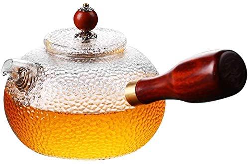 GAOLILI Tetera Tetera de Cristal de Alta Temperatura del Filtro del hogar Bote Estilo japonés Hammer Modelo Engrosamiento Flor Tetera El Pequeño Copa (Color: Cristal 1 y 2 Tazas) (Size : Single Pot)