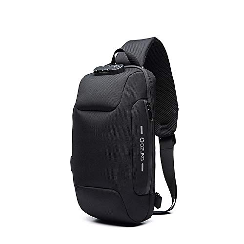 Wisfruit Anti Theft Sling Bag with USB Charging Port Casual Lightweight Chest Crossbody Daypack Waterproof (black)