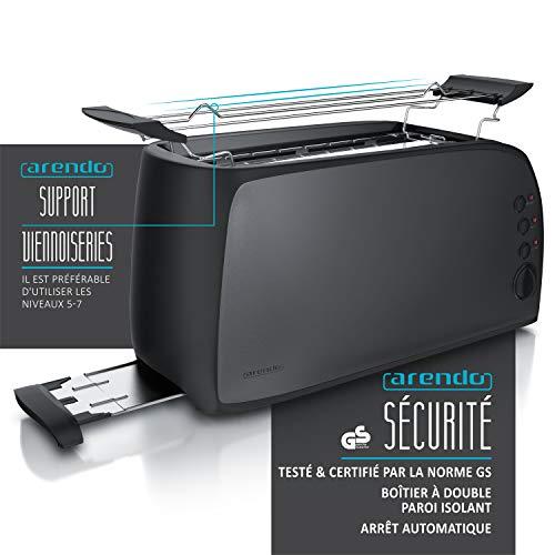 Arendo - Grille-pain à 2 longues fentes - Grille-pain automatique 3 en 1 - Fonction dégivrage - double paroi isolant thermique - 1500 W - 7 niveaux - Tiroir à miettes amovible - support veinnoiseries