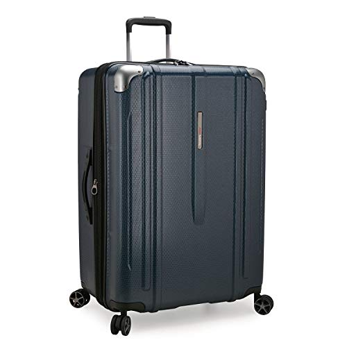 Traveler's Choice New London II Hardside Expandable Spinner Luggage, Navy, Checked-Large 29-Inch