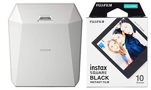 Fuijifilm Instax Share SP-3 Drucker (mit WiFi, geeignet für Sofortbildkamera) weiß & Instax Square Frame WW1 Colorfilm, schwarz