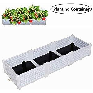 White rectangular garden planter