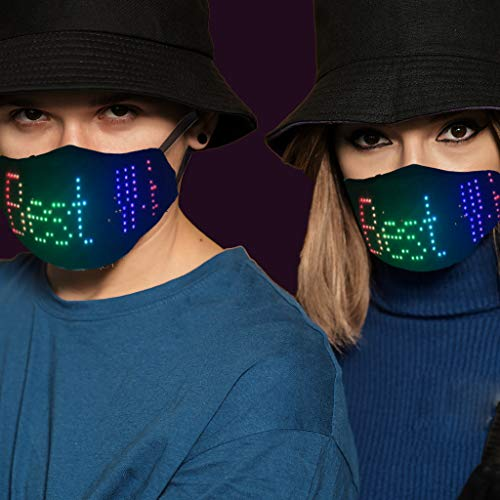 LWWOG Led Luminous M_a_s+K App USB Charging Control Full-Color Display Mask Personality Ice Silk M*A^S_k Bar Party Fashion Atmosphere Props