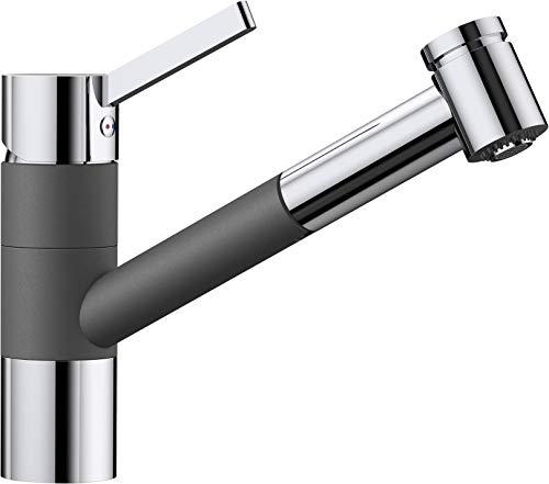 BLANCO Tivo-S, Küchenarmatur - Einhebelmischer mit ausziehbarer Brause, Wasserhahn für die Küche, Silgranit Look, zweifarbig, felsgrau / chrom, Hochdruck, 1 Stück, 518798